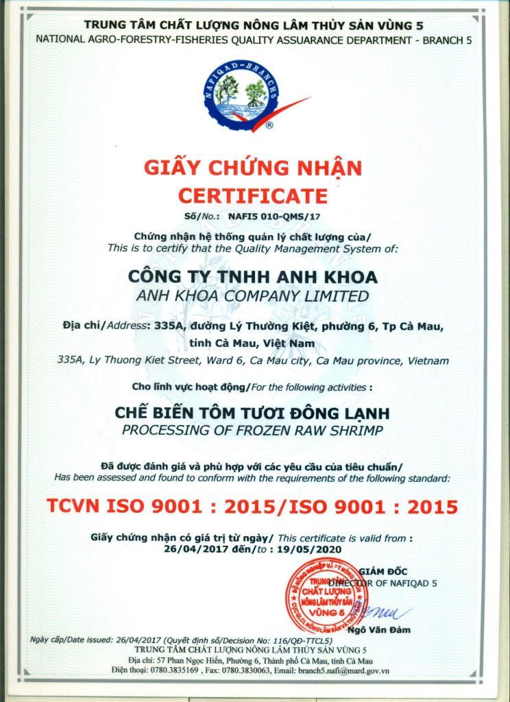 certification ISO 9001: 2015/ISO 9001:2015