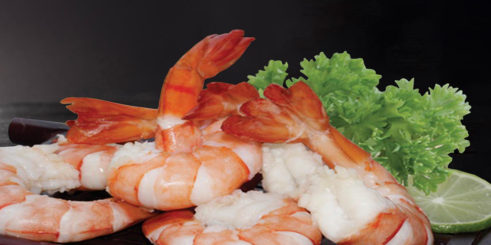 熟凤尾黑虎虾
